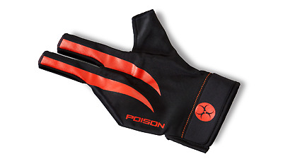 1 New Poison Large / X-Large , Black / Red Pool Billiard Cue Glove Open Fingers