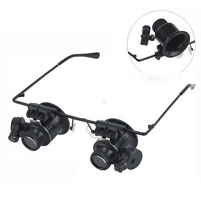 spectacle glasses eye loupe 20x LED Head magnifying glass Magnifier Handsfree TR