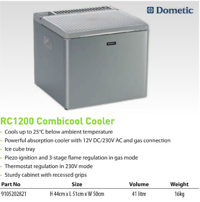 Dometic Combicool Rc1200 3 Way Portable Camping Fridge Lpg Gas Mains 12V