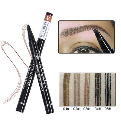 Women Waterproof Eyebrow Tattoo Pen Fork Tip Brow Enhancer Stencil Makeup Pretty