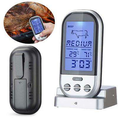 Digital Wireless Barbecue BBQ Meat Thermometer Remote Grill Cooking Probe TR