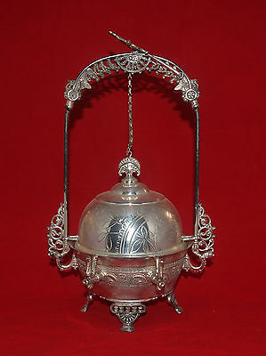 Victorian Silverplated Art Nouveau Rockford Mechanical Covered Butter Dish