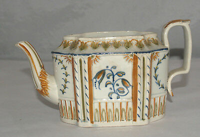 Antique Pearlware Hand Painted Polychrome Decorated Teapot