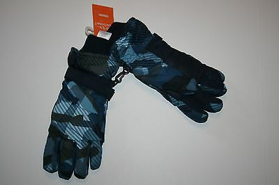 New Gymboree Black Blue Camo Print Winter Ski Patrol Gloves Size Medium 6 8 Year