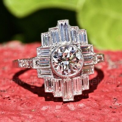 Art Deco 1.0 Ct Off White Moissanite 14k White Gold Over Engagement Vintage Ring
