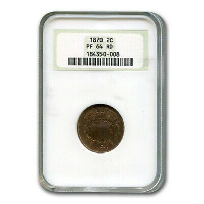 1870 Two Cent Piece PF-64 NGC (Red) - SKU#171887