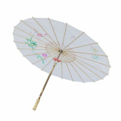 Chinese Hand Made Parasol Floral Fabric Dance Photograph Accessories Blue/White