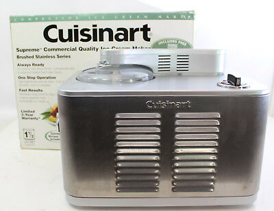 Cuisinart 1.5 Quart Commercial Ice Cream Maker Model ICE-50 BCWS Brushed Metal