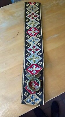 Antique Embroidered Tapestry Bell Pull with Brass Ring