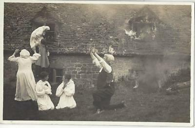 Old House On Fire - Children Praying Lady Climbing From Window Old Postcard