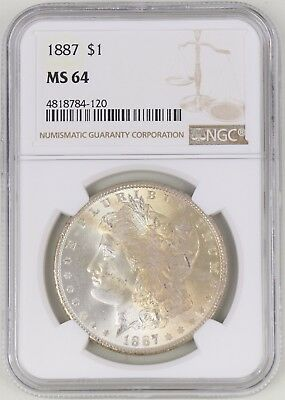 1887 Morgan Silver Dollar $1 NGC MS64 Toned