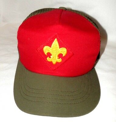 NWOT BSA Boy Scouts Official Mesh Olive Trucker Hat S/M Snapback