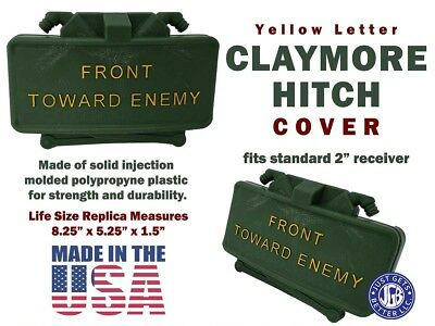 CLAYMORE HITCH COVER * Yellow Letters * Life Size Replica Claymore Mine