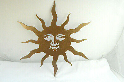 "14"" Sun Face Heavy Duty Steel Metal Wall Art Home Indoor Outdoor Garden Decor"