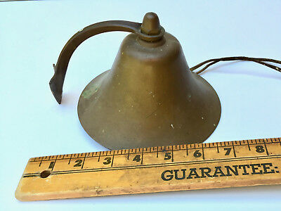 "Vintage Brass Sailboat Fog Bell w mount Hand wrought clapper 6"" Maritime Bell"