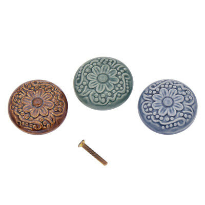 Vintage Flower Ceramic Knob Door Handle Cabinet Drawer Furniture Cupboard Pull
