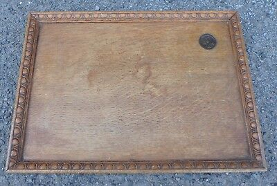 George VI Arts & Crafts solid oak bronze medallion inset St Dunstans drinks tray