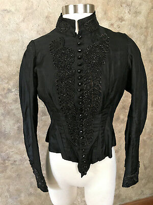 Antique Vintage Victorian Black Blouse Top Long Sleeves Beads
