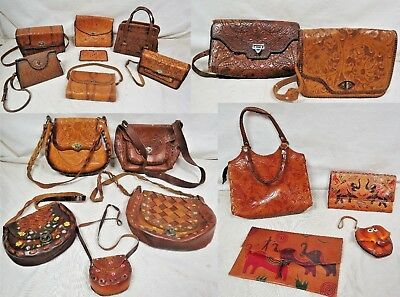 a29f9ad14dfc LOT OF 18 Vintage TOOLED LEATHER Purses Painted Novelty Western 50s 60s 70s