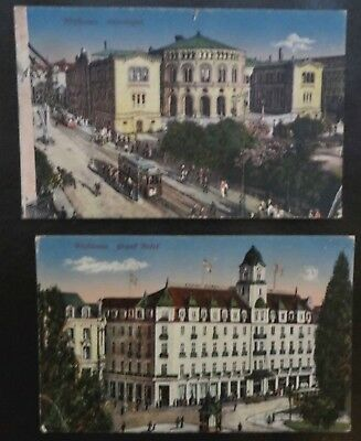 Vintage Postcards x 2 PPC, Kristiania Oslo Norway Norge, Grand Hotel, Trams
