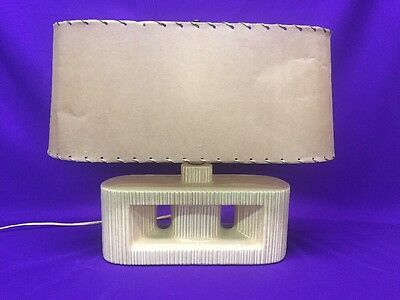 Vintage 1930S – 40S Art Deco Mid Century Modern Ceramic Oblong Table Accent Lamp