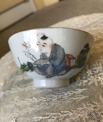 Antique Chinese Porcelain Small Bowl Qing Republic Famous Artist 吳少峰
