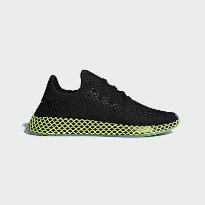 the best attitude 54b3b f9cd9 Adidas Originals Deerupt Runner Black Volt Men Lifestyle Sneakers New Gym  B41755