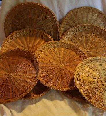 lot of 9 Vintage Paper Plate Holders Wicker Woven Picnic-C&ing 9 3/4 & SET OF 3 Vintage Wicker Eaten Paper Plate Holders - $3.99 | PicClick
