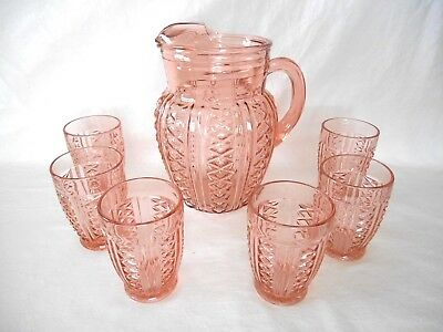 PINK DEPRESSION PITCHER & 6 TUMBLERS - X's Diamonds Bands & Ribs unknown pattern