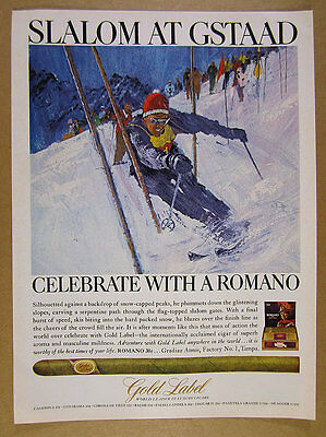 1966 Gold Label Cigars slalom skier skiing at Gstaad art vintage print Ad