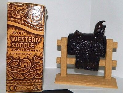 Avon Vintage Western Saddle Glass Decanter (1971-72) with LEATHER After Shave