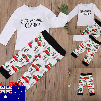 AU Stock Newborn Baby Boys Girl T-shirt Tops+Long Pants Set Clothes Outfits
