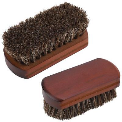 Horsehair Shoes Boot Polishing Buffing Cleaning Brush Wood Base for Shoe Care