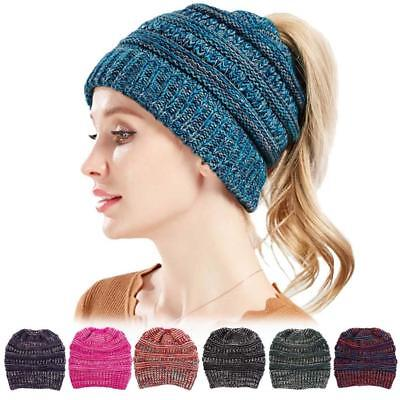 Women's Ponytail Beanie Knitted Thick Soft Stretchy Hat Warm Winter Girls Ladies