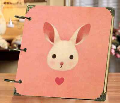 DIY 30 Black Pages 18x18cm Pink Rabbit Kraft Cover 3-ring Photo Album Scrapbook