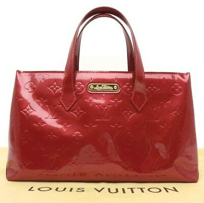 Rare Auth Louis Vuitton Monogram VERNIS Pomme D'Amour Wilshire PM Hand Bag Purse