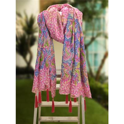 Sanskriti 100% Pure Tussar Silk New Long Stole Dupatta Pink Scarves Printed