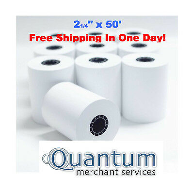 2-1/4 x 50' Thermal Credit Card Terminal Paper Rolls, 10 Rolls Pack