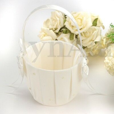 Wedding Ceremony Party Ivory Satin Bowknot Rhinestone Pearl Flower Girl Basket