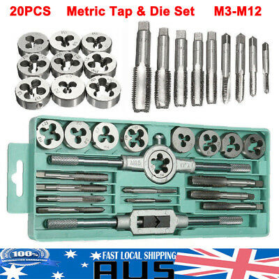 20Pcs Screw Screwdriver Thread Metric Tap and Die Set Wrench Hand Drill Tool Kit
