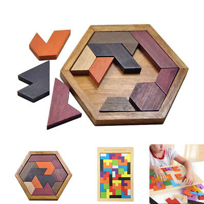 Wooden IQ Game Jigsaw Intelligent Tangram Brain Teaser Puzzle Baby Kid Toy Gift