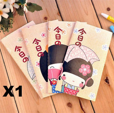 X1 Japanese Kimono Girls Diary Planner Pocket Notebook Journal Stationery Memo @