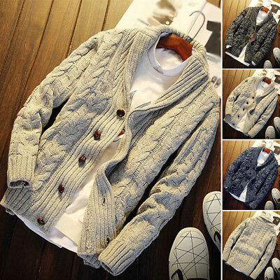 Hot Mens Chunky Collar Cardigan Sweater Coat  Shawl Knitted Jumper Jacket Tops
