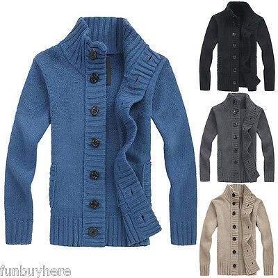 Mens Knitted Cardigan Thick Warm Shawl Autumn Spring Casual Slim Sweater Jumper