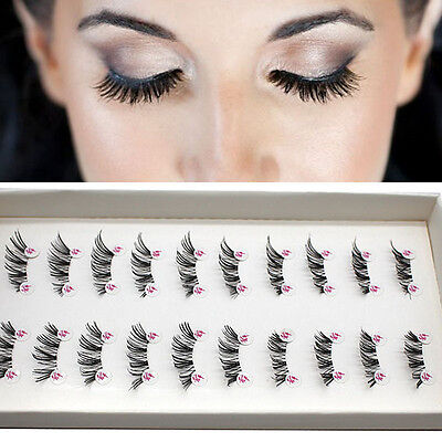 10 Pairs Handmade Cross False Eyelashes HALF MINI CORNER Lashes WINGED Eye G5E3