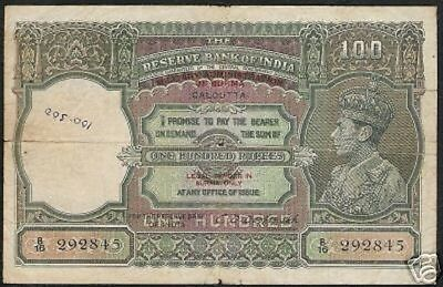Burma British India 100 Rupees P29 1945 Tiger Gb Uk King George Vi Rare Banknote
