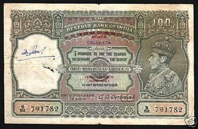 Burma India 100 Rupees P33 1947 King George Vi Rare British Tiger Gb Uk Banknote