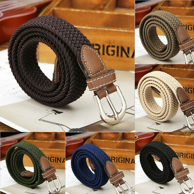 NEW Canvas Elastic Woven Leather Pin Buckle Waist Belt Stretch Waistband 1PC