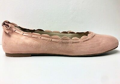 3bc1ddb5b228 JACK ROGERS Lucie Scalloped Ballet Flats Size 8.5 Dusty Rose Pink Suede  Slip-ons