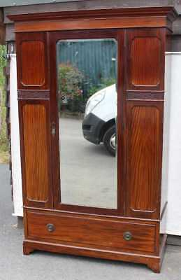 1925- Mahogany Mirrored 1 Door Wardrobe with large Drawer. All Hanging.